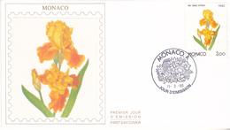 MONACO  FDC SUR SOIE PREMIER JOUR  1990 FLEUR IRIS   GRACE PATRICIA - FDC