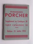 Ets. PORCHER ( Saint-OUEN ) Suppl. Catalogue 30 & Tarif CATALOGUE 30 - Edition 1935 ( Voir Photo) BAIGNOIRES ! - Old Paper