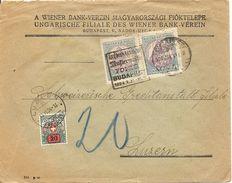 Schweiz, 1924, Brief Aus Ungarn, Wiener Bankverein, Mit Perfin, Lochung, Nach Luzern, Taxiert, Siehe Scans! - Postage Due