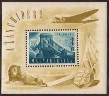 HUN SC #CB2 MNH SS 1948 Air S-P/Chain Bridge, Budapest W/sm Amt Ink Splatter (?) @ CL CV $120.00 - Blocks & Sheetlets