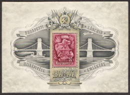 HUN SC #C66 MNH SS 1949 Air/Chain Bridge, Symbols Of Labor W/flts CV $350.00 - Blocks & Sheetlets