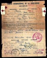 LOTS 3 LETTRES CROIX-ROUGE GENEVE-  PRISONNIERS DE GUERRE + 1 CARTE- 1942- 43- 44- 5 SCANS - War 1939-45