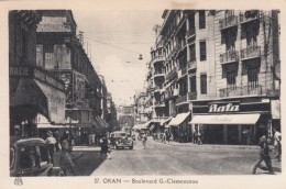 Oran Algeria, Boulevard G. Clemenceau, Street Scene Business Signs, C1930s Vintage Postcard - Oran