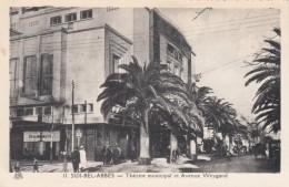 Sidi Bel-Abbes Algeria, Municipal Theater, Avenue Weygand Street Scene C1930s Vintage Postcard - Sidi-bel-Abbes