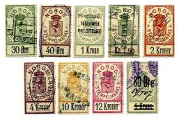 NORWAY, Stamp Duty, B&H 3/5, 7, 11, 14/16, 23, Used, F/VF, Cat. £ 50 - Revenue Stamps