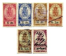 NORWAY, Stamp Duty, B&H 25/26, 28/31, Used, F/VF, Cat. £ 14 - Revenue Stamps