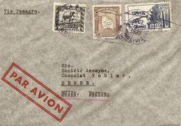 Bolivia, 1939, Correo Aereo, Via Panagra, Por Suiza, Switzerland, Miu 243++, Mixed Franking, See Scans! - Bolivia