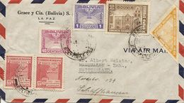 Bolivia, 1945, Correo Aereo, Por Suiza, Switzerland, Marthalen, Mi 319, Mixed Franking, See Scans! - Bolivia