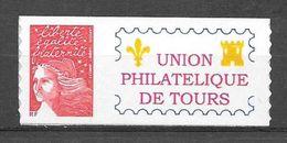 P92 Marianne De Luquet N° 3729A N++ Adhésif Personnalisé Union Philatélique De Tours - Personnalisés