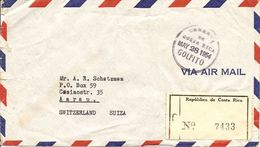 Costa Rica, 1954,  Registred Airmail Cover To Switzerland, Mixed Franking, See Scan! - Costa Rica