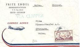 Ecuador, 1961, Airmail  Cover To Switzerland, Mi 717, Single Franking, Via Clipper, See Scans! - Ecuador