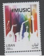 LEBANON, 2017, MNH, MUSIC , MUSICAL INSTRUMENTS, GUITARS, SAXOPHONES,VIOLINS,1v - Musique