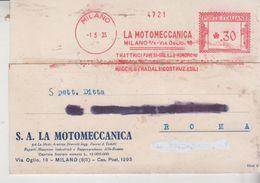 Ema Affrancature Meccaniche Rosse 1935 Milano La Motomeccanica - Marcofilia - EMA ( Maquina De Huellas A Franquear)