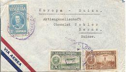 Venezuela, 1940,  Airmail Cover To Switzerland, Mi 261+, Mixed Franking, See Scans! - Venezuela