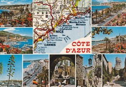Postcard Map Cote D'Azur French Riviera Multiview My Ref B22119 - Maps