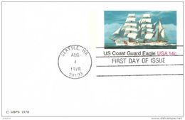 Unaddressed  14c Postal Stationery Card US Coast Guard Eagle FDC Postmarked Seattle WA 4 Aug 1978 - Postal Stationery