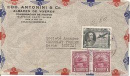Venezuela, 1945,  Airmail Cover To Switzerland, Mi, 409+, Mixed Franking, See Scans! - Venezuela