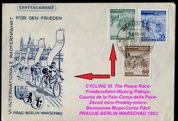 1007-GERMANY (DDR) FDC CYCLING VI. The Peace Race-Friedensfahrt-Wyścig Pokoju-Course De La Paix-Corsa Della Pace 1953 - Radsport