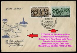 1008-GERMANY (DDR) FDC CYCLING VII. The Peace Race-Friedensfahrt-Wyścig Pokoju-Course De La Paix-Corsa Della Pace 1954 - Radsport