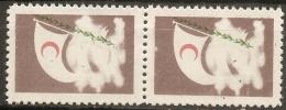 Turkey 1954 1 Kurus Brown Red Crescent, Without Black Prints - Tekst & Value - Pair MNH - 1921-... Repubblica