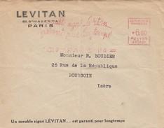 LETTRE. 7 AOUT 1947. EMA LEVITAN 6.00F PARIS 114 POUR BOURGOUIN ISERE - 1921-1960: Periodo Moderno