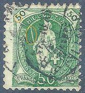 Stehende Helvetia 90A, 50 Rp.grün  RETOUCHE         1905 - Usati