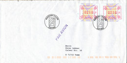 Aland Cover With ATM Frama Labels Sent To Germany Mariehamn 25-8-2000 - Ålandinseln