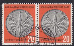 ALLEMAGNE -  DEUTSCHLAND - GERMANIA (BRD) - 1958 -  Due Valori Yvert 162 Usati, Uniti Fra Loro. - [7] Federal Republic