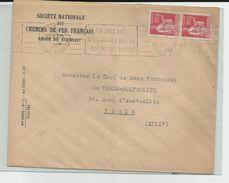 FRANCE - PAIRE N°YT 283 OBLITERATION MECANIQUE PARIS XIII AVENUE ITALIE N ECOUTEZ QUE LA VOIX DE VOS CHEFS 1940 SNCF - Lettres & Documents