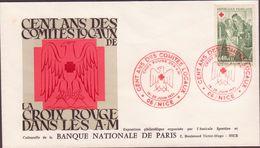 ENVELOPPE TIMBRE 1971   CROIX ROUGE CENT ANS DES COMITES LOCAUX NICE - FDC