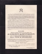 OOSTKAMP Amélie De KERCHOVE De DENTERGHEM Veuve PEERS De NIEUWBURGH 1845-1925 - Todesanzeige