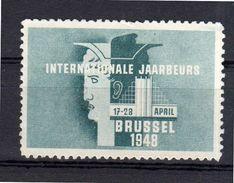 Cinderella Internationale Jaarbeurd Brussel 1948  (no Gum)  (C-P1-36) - Belgio