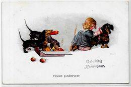 CPA Teckel Dackel Dachshund Chien Dog écrite Pommes - Dogs
