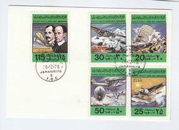 1978 LIBYA FDC Aviation  ZEPPELIN AIRSHIP, WRIGHT BROTHERS,   SEAPLANE , AIRCRAFT , BIRD Stamps Cover Flight Birds - Libya