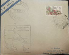 L) 1972 FALKLAND ISLANDS, GUNNERA MAGELLANICA, ORNAMENTAL PLANT, NATURE, FIRST AIR MAIL, CIRCULATED COVER FROM FALKLAND - Great Britain (former Colonies & Protectorates)