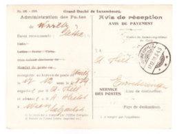 Luxembourg - 1928 Stampless Official Avis De Reception Card - Wilwerwiltz To Wien, Austria - Service