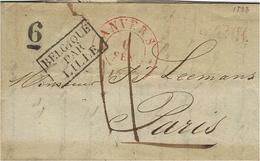 1833 - Lettre D'ANVERS  Cad Rouge  Taxe 11 + 6  D  Pour Paris -entrée BELGIQUE /PAR/LILLE Noir - 1830-1849 (Belgique Indépendante)