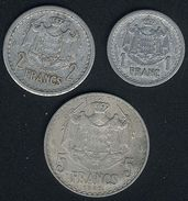 Monaco, 1 + 2 + 5 Franc(s), Aluminium - Monaco