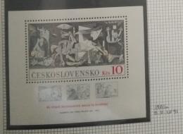 P7 Paintings - Czechoslovakia 1981 MNH Minisheet 45th Anniv Of Intntl Bridges In Spain & 100th Anniv Birth Picasso - Czechoslovakia
