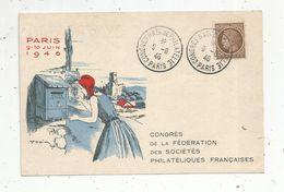 Cp , Bourses & Salons De Collections , Congrés De La Fédération Des Sociétés Philatéliques Françaises , 9-10 Juin 1946 - Bolsas Y Salón Para Coleccionistas