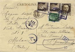 1941- C P  Intero Postale 30 C + Compl. à 45 C Da Milano - Censura Italiana 110 /111pour La France - 1861-78 Vittorio Emanuele II