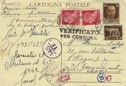 1942- C P  Intero Postale 30 C + Compl. à 45 C Da Treviso - Censura Italiana 145 /11pour La France - 1861-78 Vittorio Emanuele II