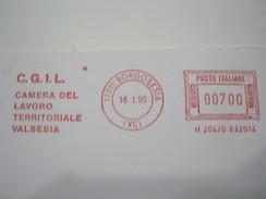 RS10 ITALIA EMA AFFR. MECCANICA ROSSA - 1990 BORGOSESIA VERCELLI - CGIL CAMERA DEL LAVORO VALSESIA SINDACATO WORK - Affrancature Meccaniche Rosse (EMA)