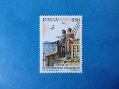 1992 ITALIA FRANCOBOLLO NUOVO STAMP NEW MNH** COLOMBO CELEBRAZIONI COLOMBIANE 850 LIRE - 6. 1946-.. Repubblica
