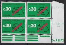 "FR Coins Datés YT 1719 "" Code Postal Vert "" Neuf** Du 24.4.72 - Coins Datés"