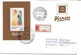 """83 - 12 - Enveloppe  Recommandée De Hongrie Avec Bloc Et Oblit Spéciale """"Picasso"""" 1981 - Picasso"""