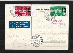 SCUOL FESTA D'ENGIADINA 1937 → 1.Uffizi Da Posta Svizzer Sün Automobil ►mit Rotem Stempel RRR◄ - Poste Aérienne