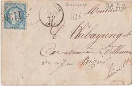 Gros Chiffres - VOSGES - Lettre De CORCIEUX - GC 1130 - Marcophilie (Lettres)