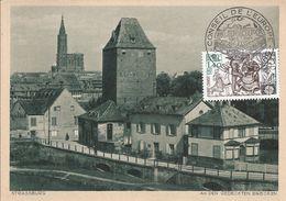 France CARTE MAXIMUM CARD KARTE STRASBOURG STRASSBURG EUROPA 1981 PALAIS CONSEIL EUROPE DANSE TANZ PONT BRUCKE BRIDGE - Europa-CEPT