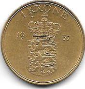 *denmark 1 Krone 1957  Km 837.2  Vf+ - Denmark